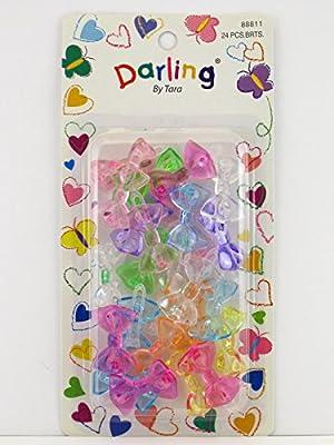Darling By Tara Girls Self Hinge Plastic Bow Hair Barrettes - 24 Pcs.