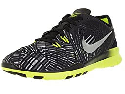Nike Women\'s Free 5.0 Tr Fit 5 Prt Black/Metallic Silver/Volt Training Shoe 9.5 Women US