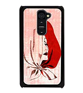 Girl in Red Scarf 2D Hard Polycarbonate Designer Back Case Cover for LG G2 :: LG G2 D800 D802 D801 D802TA D803 VS980 LS980