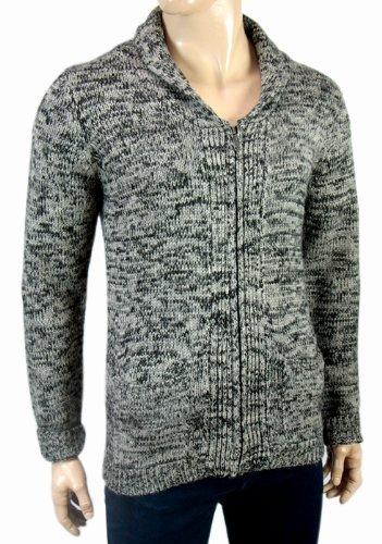 New Knitwear Full Zip Shawl Neck Cardigan Jumper Grey Mens Size