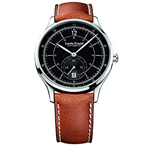 Louis Erard Men's Brown Leather Band Steel Case Automatic Black Dial Analog Watch 33226AA12.BDC82