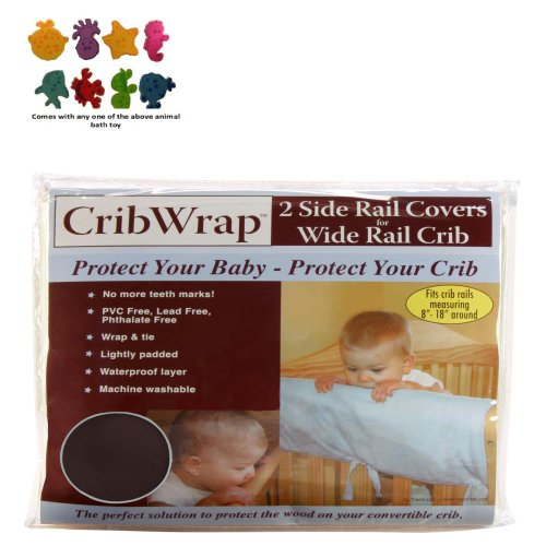 Cribwrap¨ Wide Rail Cover - Short Brown Fleece & Purchasecorner Toy Bundle front-79705