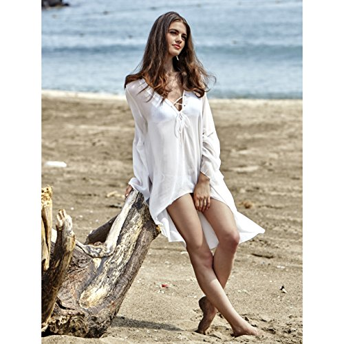 744dbb0536b ... T Shirt Style Graphic Tees Cotton Beach Swimsuit Cover Up. $14.99. MG  Collection Chiffon V-Neck Swimsuit Cover Up, High Low Beach Dress, White