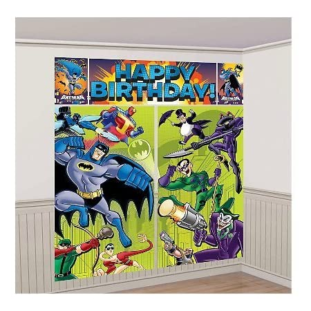 Set the scene for a cool party with Batman Scene Setters! This Batman Scene Setter includes a giant 5-piece set of lightweight vinyl decoration towering over 6ft tall when assembled. Featuring Batman and his pals about to battle The Joker and other v...