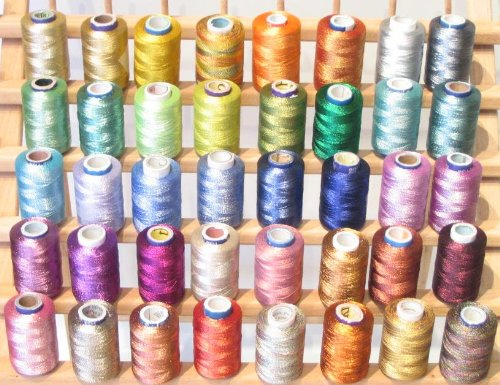 New Threadsrus 40 Spools of Metallic Embroidery Threads for Machine Embroidery - 100% Polyester