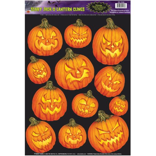 Halloween Scary J-O-L Glass - Window Clings 12in. x 17in. Sheet Pkg/12
