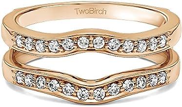 14k Gold Contour Shape Channel Set Enhancer Ring Guard with White Sapphire 014 ct twt