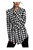 Zeagoo Womens Knit Pullover Plaid Houndstooth Pattern Coat Knitwear Cardigan ((US M(8-10) UK 10 EU 38 AU 12), Black and white(FBA))