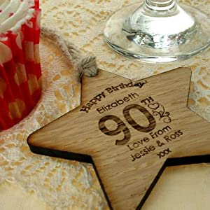 Womens 90th Birthday Gift 90th Birthday Wooden Star 90th