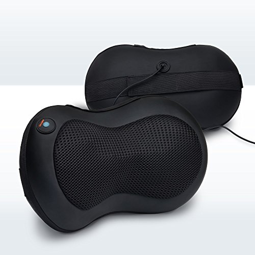 LiBa Neck and Back Massager Pillow with Heated Ball and Car Charger