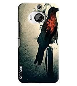 Omnam Black Eagle With Red Feather Printed Designer Back Cover Case For HTC One M9 Plus