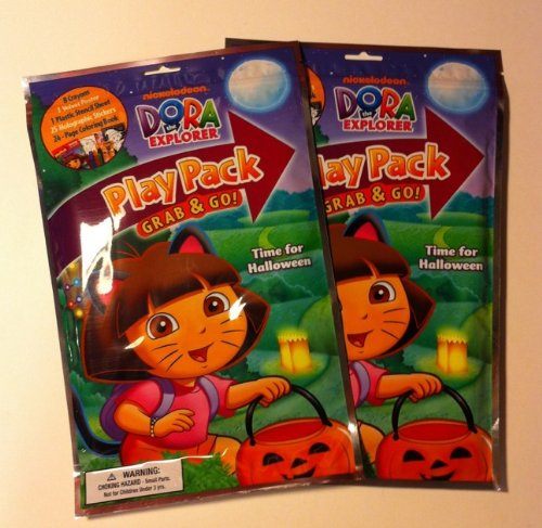SET OF 2 DORA THE EXPLORER HALLOWEEN PLAY PACK GRAB & GO FUN ACTIVITY BOOK CRAYONS STICKER NEW