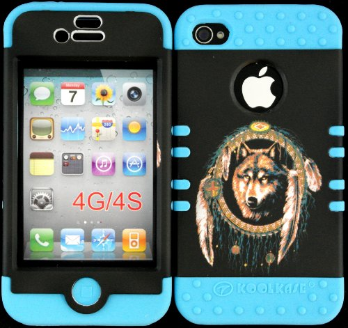 Hybrid Cover Case For Iphone 4 4S Wolf Dream Catcher Hard Plastic Snap On Baby Teal Silicone Gel front-919284