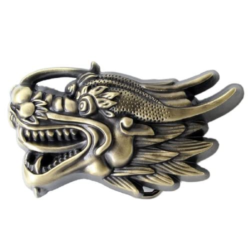 Amazon.com: 3D Chinese Dragon Head Belt Buckle - Bronze Color