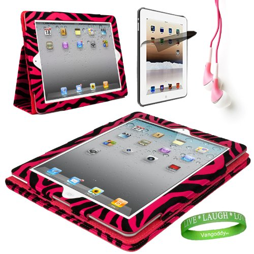 Pink Zebra iPad Skin Cover Case Stand with Screen Flap and Sleep Function for all Models of The NEW Apple iPad 3 (3rd Generation, wifi , + AT&T 3G , 16 GB , 32GB , MD328LL/A , MD329LL/A , MD330LL/A, ect..) + Compatible Pink iPad earbud Earphones with Noise reduction + Custom iPad Anti Glare Screen Protector + Live * Laugh * Love Vangoddy Trademarked Wrist Band!!!