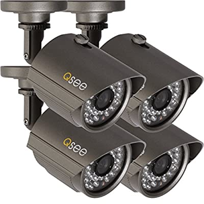 Q-See QM6510B-4 High-Resolution 700TVL Weatherproof Cameras with 100-Feet Night Vision, 4-Pack (Gray)