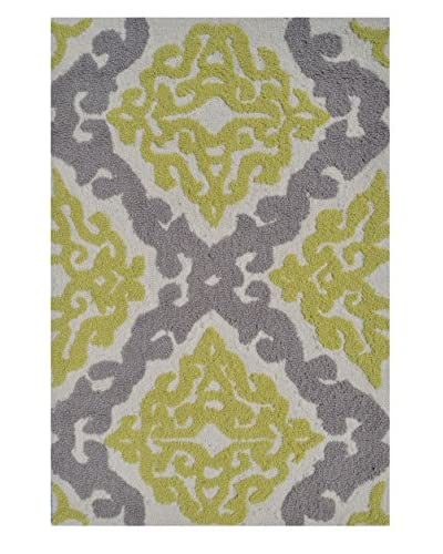 Pop Accents Trellis Yellow Indoor/Outdoor Scatter Rug, Yellow/Grey, 22 x 34