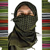 Toma Hash Military Shemagh Tactical Desert 100% Cotton Arab Keffiyeh Scarf Head Wrap - Red/Black