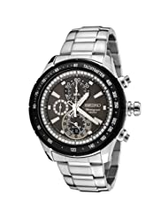 Seiko Men's SNAC89P Chronograph Silver Dial Stainless Steel Alarm Watch