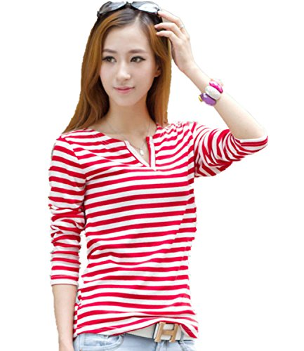 Women's Striped Slim Long Sleeve Casual Career V-neck Tops Blouse T-shirt (XL( US L), Red)