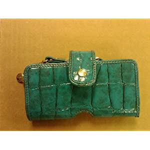 LIZ CLAIBORNE BLUE TURQUOISE CROC POUCH IN RETAIL PACKAGING