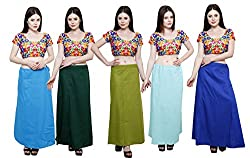 Pistaa combo of Women's Soft Cotton Turquoise Blue, Dark Green, Mehendi Green, Sky Blue and Ink Blue Color Best Stylish Readymade Inskirt Saree petticoats