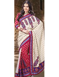 Exotic India Ivory And Red Sari With Metallic Thread Embroidery - Ivory