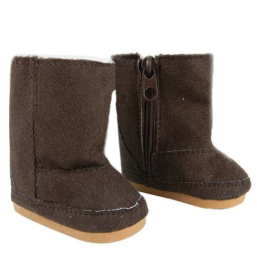 Doll Boots, Doll Shoes Fit 18 Inch American Girl Dolls, Brown Suede Ewe Boots
