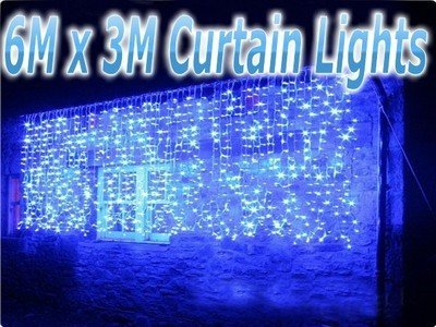 Jinshuntai 6m x 3m 480 LEDs BLUE String Fairy Curtain Lights Christmas Outdoor Party w/Fuse