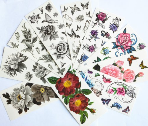 10pcspackage-hot-selling-temporary-tattoo-stickers-various-designs-including-black-peonyblack-flowers-and-butterfliesblack-rosescolorful-flowers-and-butterfliesrosespeonyetc