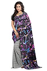 Pruthu Georgette Sari with Unstitched Blouse (pmadh_004_Black)