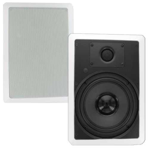 Theater Solutions Ts80W 8-Inch In Wall Surround Sound Hd Home Theater Rectangular Kevlar Speaker Pair
