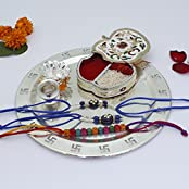 Rakhi Rakhi Rakhi !!! GS Museum Silver Plated Swastika Thali With Apple Shape Chopda And Bhaiya Bhabhi Designer... - B01K9MUSAK