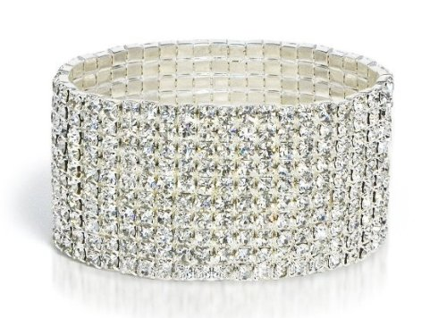Bridal Rhinestone Stretch Bracelet 9-row Silver Tone – Ideal for Wedding, Prom, Party or Pageant
