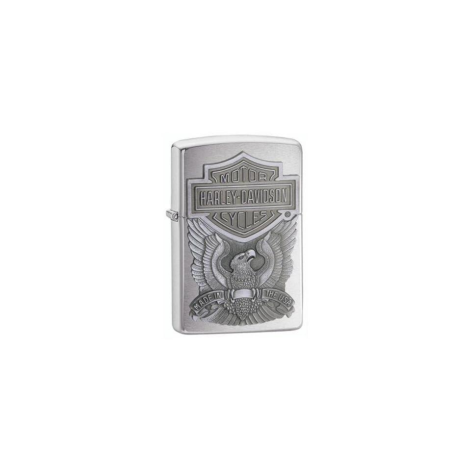 Zippo Harley Davidson Eagle Emblem Brushed Chrome Lighter