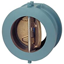 NIBCO NLN500K Ductile Iron Check Valve, Inline, Twin Disc, Class 125, Buna-N Nitrile Rubber Seat, 6&#034; Wafer