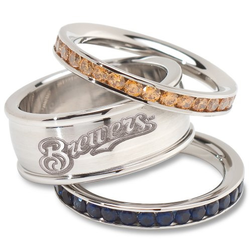 MLB Milwaukee Brewers Logo Crystal Stacked Ring Set (Size 7)