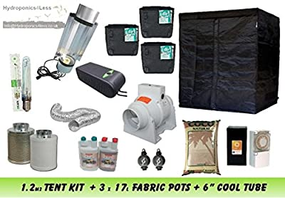 "Complete Hydroponic Grow Room Tent Fan 6"" Cool Tube Light 600w 1.2m2 CANNA Kit"