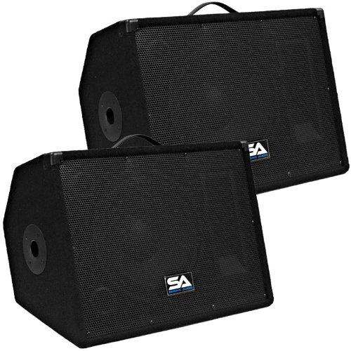 """Seismic Audio - Pair Of 12"""" Floor Monitors Studio, Stage, Or Floor Use - Pa/Dj Speakers - Bar, Band, Karaoke, Church, Drummer Use"""