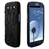 Skque 3D Rose Flower Carving Cover Case for Samsung Galaxy S3 I9300, Black
