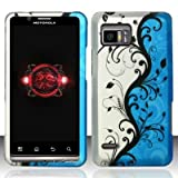 Motorola Droid Bionic xt875 Accessory - Blue/Silver Vines Design Protective Hard Case Cover for Verizon