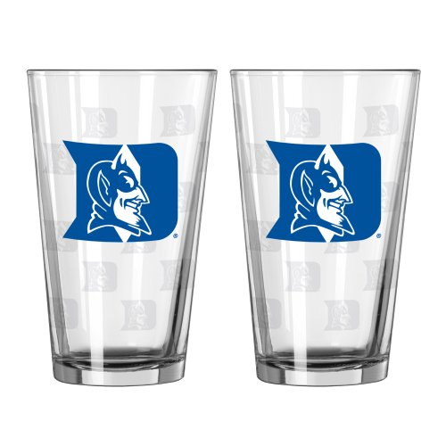 NCAA Duke Blue Devils Satin Etch Pint Glass Set (Pack of 2), 16-Ounce at Amazon.com