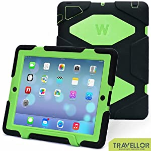 Thinking Summer Newest Ipad 2 3 4 Case Winpartner Travellor A41 Non Toxic Eva Case Super 3d Protect Military-duty Case with Stand Holder Shell Cover Case Rainproof Sandproof Dirtproof Shockproof for Apple New Ipad,ipad 4 Ipad 3 Ipad 2 (black-light green)