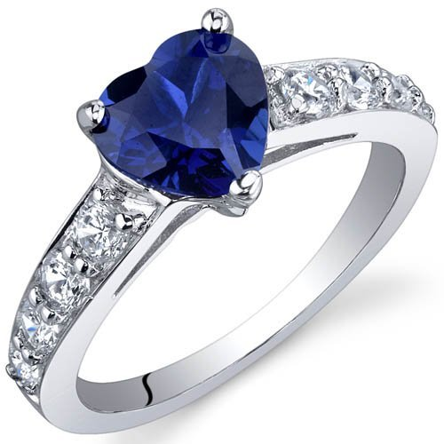 Peora Dazzling Love 1.75 Carats Blue Sapphire Ring in Sterling Silver Rhodium Finish Size J to R