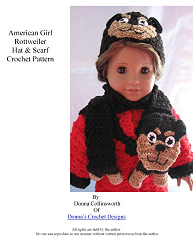 American Girl Doll Rottweiler Hat and Scarf Crochet Pattern