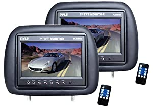 Pyle PL71PHB Headrest Pair with Built-In 7-Inch TFT-LCD Monitors (Black) by Pyle