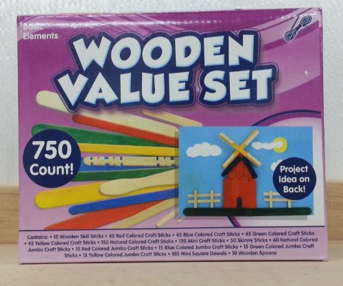 Basic Elements Wooden Value Craft Stick Set 750pc