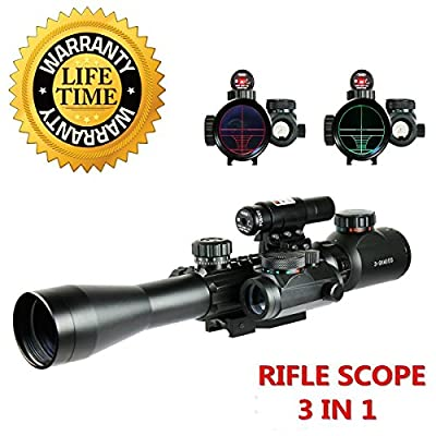Fayachi Riflescopes 3 in 1 Tactical Rifle Scope with 3-9x40mm Dual Illuminated Scope+Red Laser Sight + Red / Green Reticle Holographic Dot Sight W/ 22mm & 11mm Picatinny Rail Mount from Fayachi