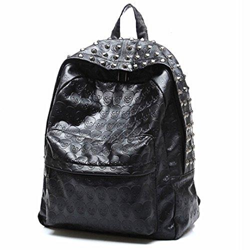 Spalle Cuoio Punk Skull Rivet Schoolbag Preppy Style Borsa Zaino nero