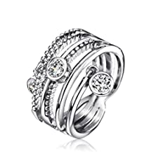 buy Neoglory Jewelry Platinum Plated Cubic Zirconia Cz Band Stacked Ring 6